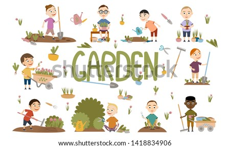 Set different boy gardening plants, weed beds, watering seedlings, pruning bushes and trees, working in the garden. People and garden tools. Vector illustration