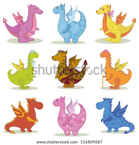Set different cartoon colorful Dragons on white background. Vector