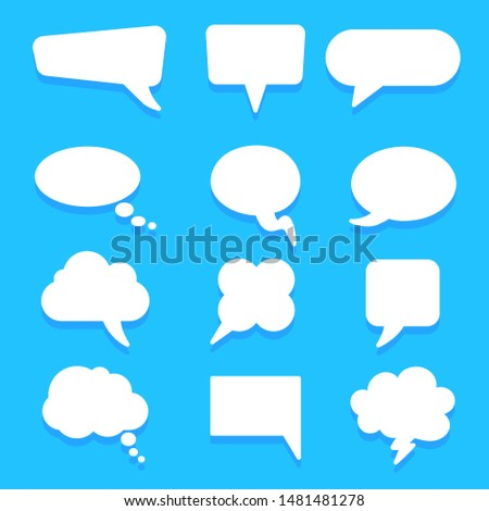 Set different empty speech bubble, chat sign icon - stock vector