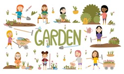 Set different girls gardening plants, weed beds, watering seedlings, pruning bushes and trees, working in the garden. People and garden tools. Vector illustration