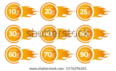 Set DISCOUNT IN Banner Sales Discounts. Discounts for offers. Special Offer, Discount Label vector template