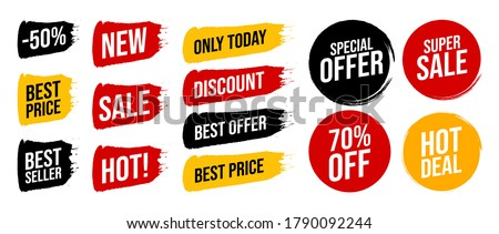 Set discount label with advertising text on brush stripe and circle in different colors. Vector illustration. Special offer the best price only today, super sale, hot deal sign isolated on white. Foto stock ©