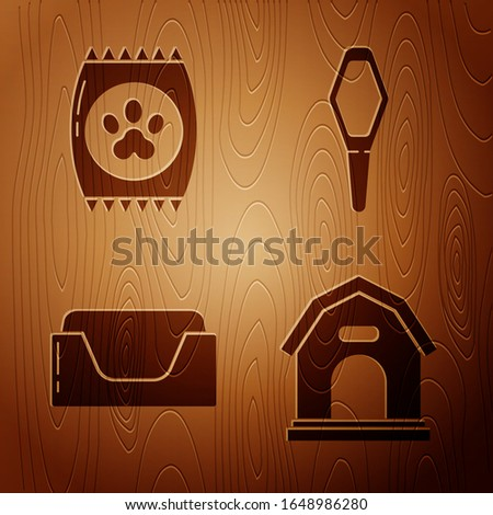 Set Dog house, Bag of food for pet, Pet bed and Pets vial medical on wooden background. Vector