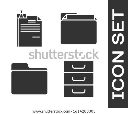 Set Drawer with documents, File document and binder clip, Document folder and Document folder icon. Vector