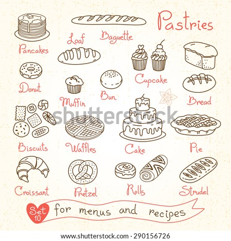 set drawings of pastries and