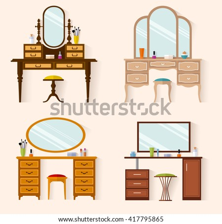 Set Dressing Tables Of Various Designs Flat Style Vector Illustration Furniture For A Feminine
