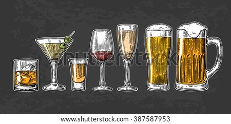 set drink alcohol  glass for