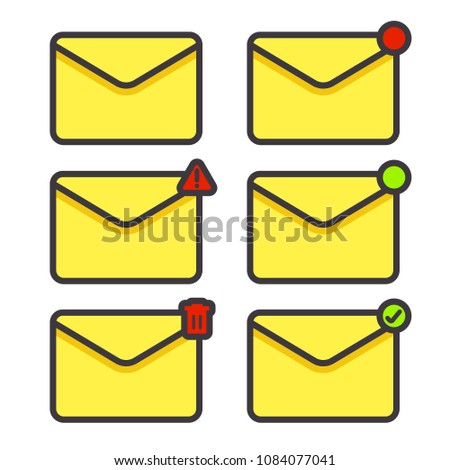 Set e-mail message envelope icon vector in any condition