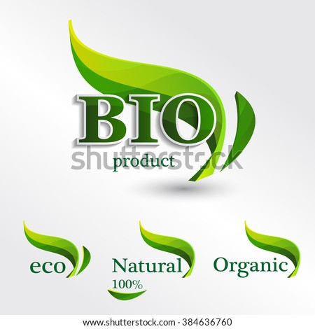 Set  Eco logos, design template elements, bio icon, natural icon, organic icon
