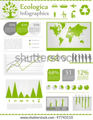 Set ecologic elements of infographics. World Map and Information Graphics