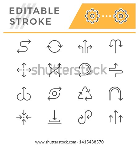 Set editable stroke line icons of arrows