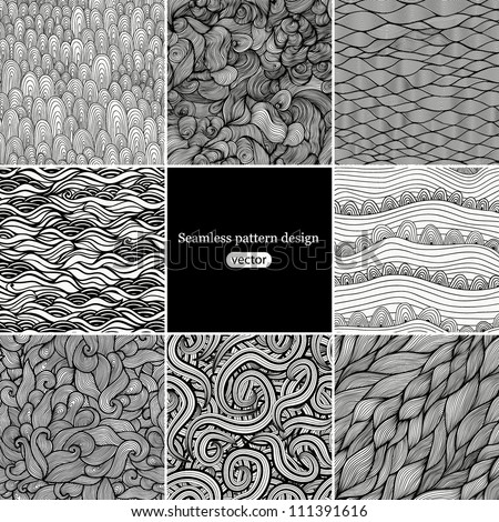 Set 2 Eight black and white wave patterns (seamlessly tiling).Seamless pattern can be used for wallpaper, pattern fills, web page background,surface textures. Gorgeous seamless wave background