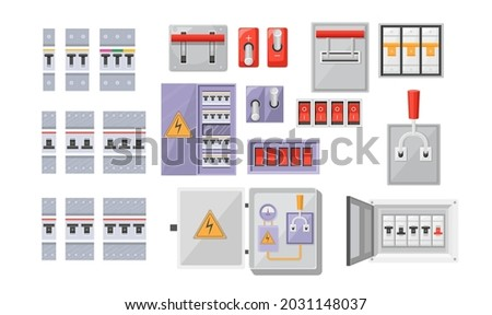 Set Electric Breaker Switchbox Electricity and Energy Equipment Red Buttons, Contact-breaker Isolated on White Background. Power Control, Switchboard Panel with Turners. Cartoon Vector Illustration Photo stock ©