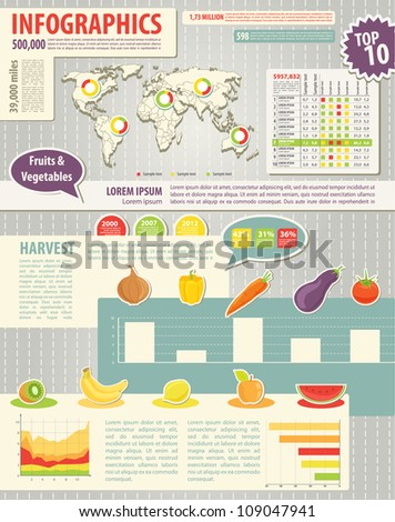 Set elements of infographics and food icons. World Map and Information Graphics