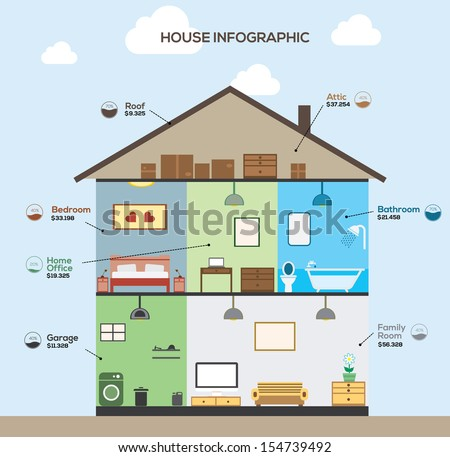 home design elements set elements of infographics house design 스톡 벡터 일러스트레이션 12115