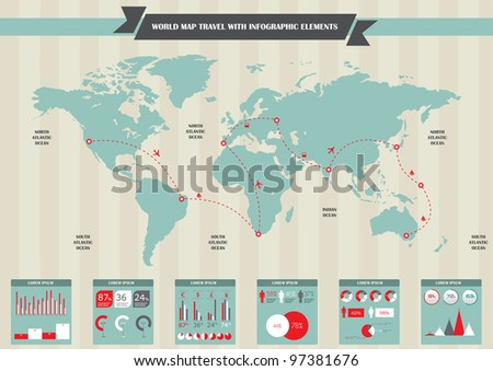 Set elements of infographics. World Map and Information Graphics - stock vector