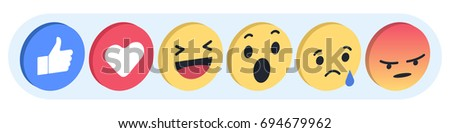 Set Emoji Facebook reactions vector like social icon. Button for expressing social smileys. Flat vector illustration EPS 10