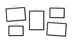 Set Empty frames for photos or pictures hanging on the wall. Frame for family photos. Vector mock up. blank frame art gallery.