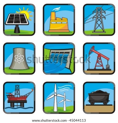 Set energy icons of various ways to produce energy. With no color transparency.