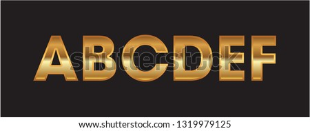 Set english alphabet Golden graphic style in vector isolation, illustration #1319979125