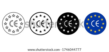 Set Europe sign with CE mark. Made in EU CE. Certificate vector icon. Quality guarantee.