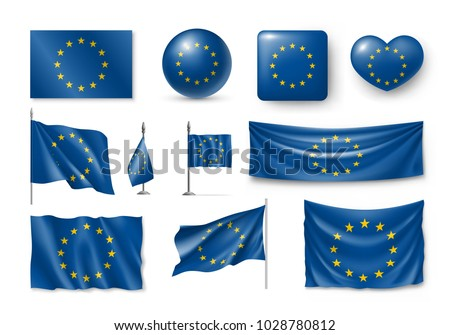 Set European Union flags, banners, banners, symbols, realistic icon. Vector illustration of collection of national symbols on various objects and state signs
