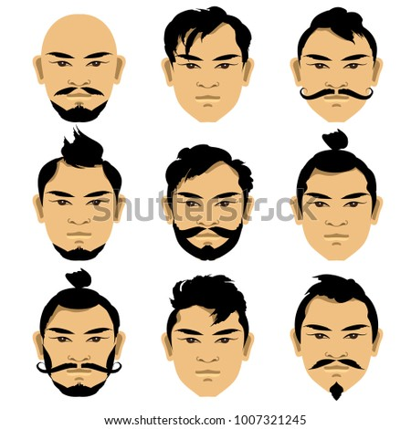 set faces of asian men with