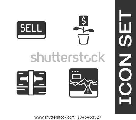 Set Failure stocks market, Sell button, Stacks paper money cash and Dollar plant icon. Vector