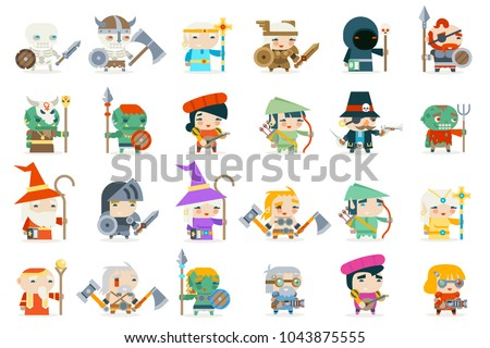 Set fantasy rpg game heroes villains character minions vector icons flat design vector illustration