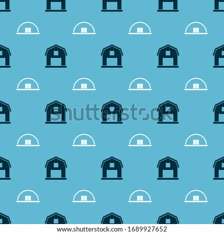 Set Farm House concept and Hangar on seamless pattern. Vector