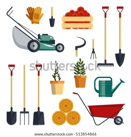 Set farm tools flat-vector illustration. Garden instruments icon collection, shovel, pitchfork, rake, lawnmower, gloves, wheelbarrow, plants, watering, isolated on white background. Farming equipment.