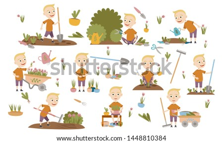 Set fashionable blond boy gardening plants, weed beds, watering seedlings, pruning bushes and trees, working in the garden. People and garden tools. Vector illustration