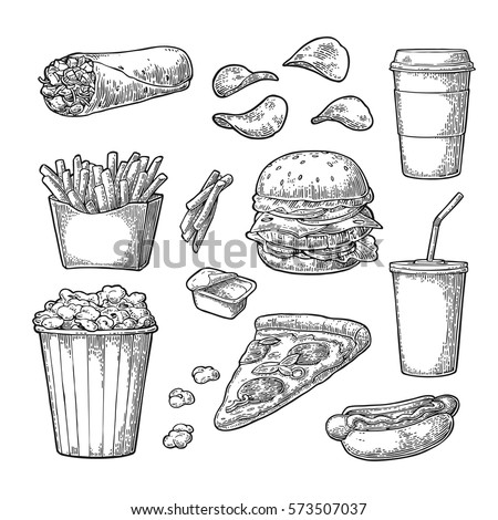Set fast food. Cup cola, coffee, burrito, chips, hamburger, pizza, hotdog, fry potato in paper box, carton bucket popcorn, ketchup. Isolated white background. Vector vintage engraving illustration