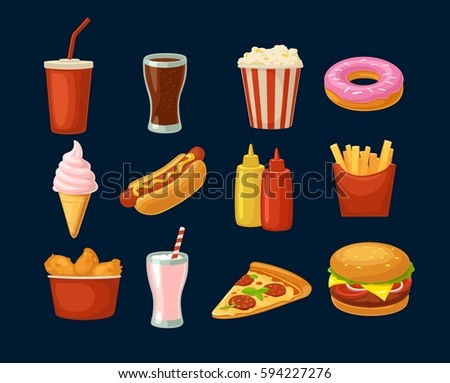 Set fast food icon. Cup cola, donut, ice cream, milkshake, hamburger, pizza, chicken legs, hotdog, fry potato, popcorn, ketchup. Isolated dark background. Vector flat color illustration. For takeaway
