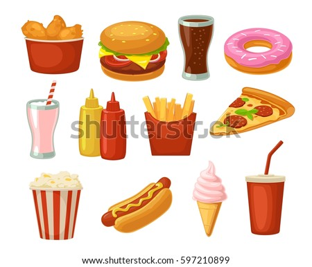 Set fast food icon. Cup cola, donut, ice cream, milkshake, hamburger, pizza, chicken legs, hotdog, fry potato, popcorn, ketchup. Isolated on white background. Vector flat color illustration. For menu