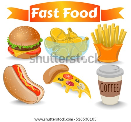 set fast food  meal  pizza  hot