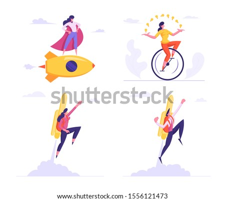 Set Female Super Employee with Arms Akimbo Flying on Golden Rocket and Riding Monocycle Juggling Light Bulbs. Business Success, Leadership, Professionalism Concept. Cartoon Flat Vector Illustration