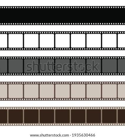 Set film strip isolated on white background. Old retro film strip frame. Vector stock Stockfoto ©