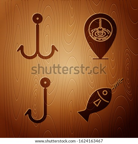 Set Fish on hook, Fishing hook, Fishing hook and Location fishing on wooden background. Vector