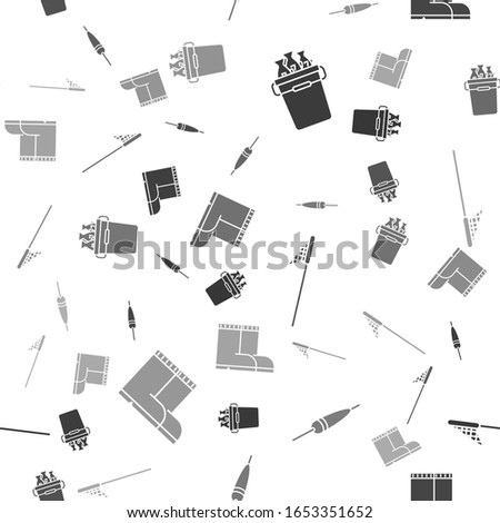 Set Fishing bucket with fishes, Fishing float, Fishing net and Fishing boots on seamless pattern. Vector