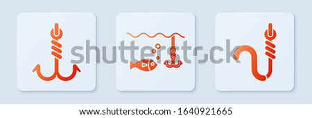 Set Fishing hook under water with fish, Fishing hook and Fishing hook and worm. White square button. Vector