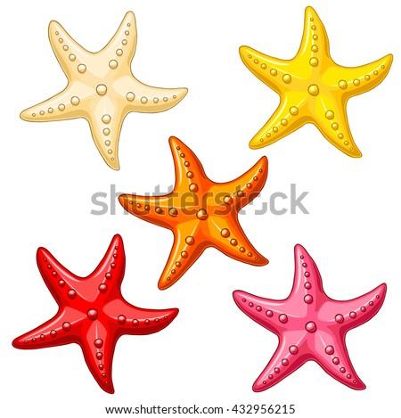 set five multi colored cheerful