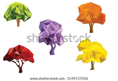 set five trees low poly icons