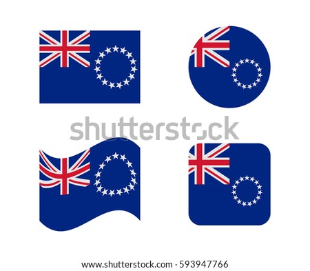 set 4 flags of cook islands