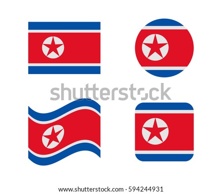 set 4 flags of north korea