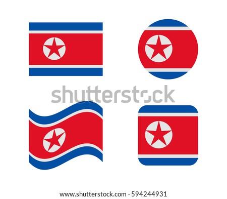 set 4 flags of north korea