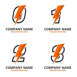 Set flash initial letter  Logo Icon Template. Illustration vector graphic. Design concept Electrical Bolt With letter symbol. Perfect for corporate, technology, initial , more technology brand identit