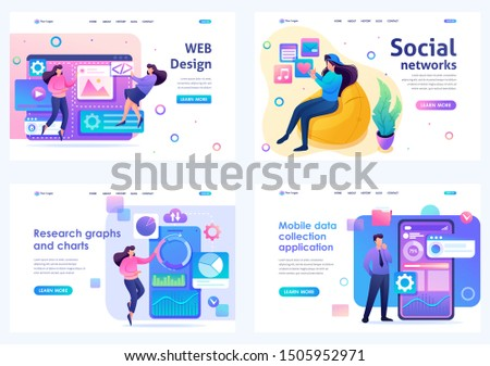Set Flat 2D concepts concepts web design, social networks, data analysis, mobile collection. For Landing page concepts and web design