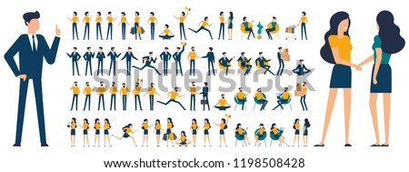 Set  flat design man woman character animation poses - speaking, shopping, talking phone, arm crossed, finger up, hand shake, winner,  siting, meditation, relaxation etc.