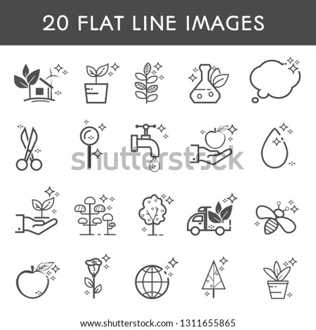 Set 20 flat line icon. Simple icons about products, delivery, plants, planting, caring and ecology. Vector illustration.Vector illustration.